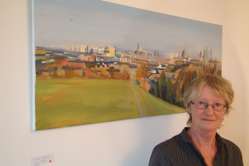Liz with 'City Skyline' at Nunhead Art Trail
