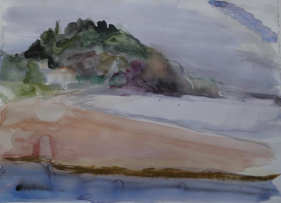'La plage de l'Ouille,'. watecolourJPG