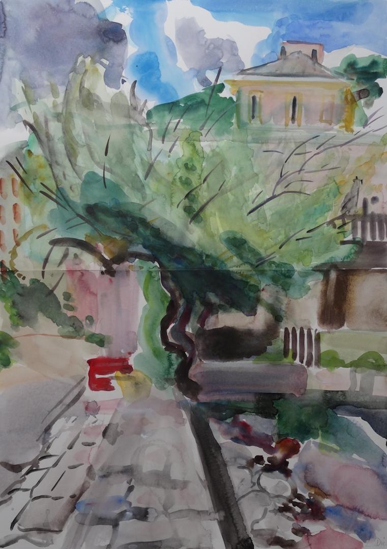 'Casa Americana' aquarelle, 72 x 51cm